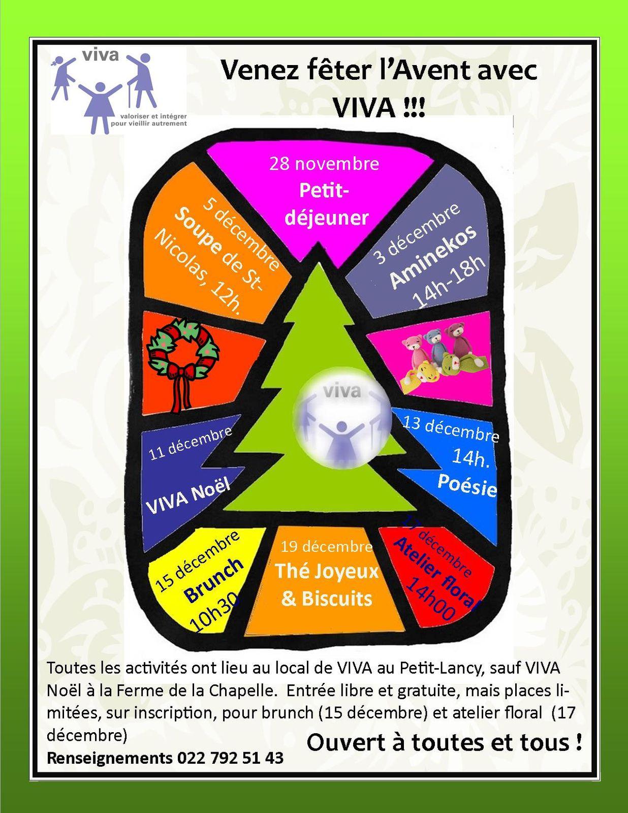 Activités de VIVA pour l'Avent