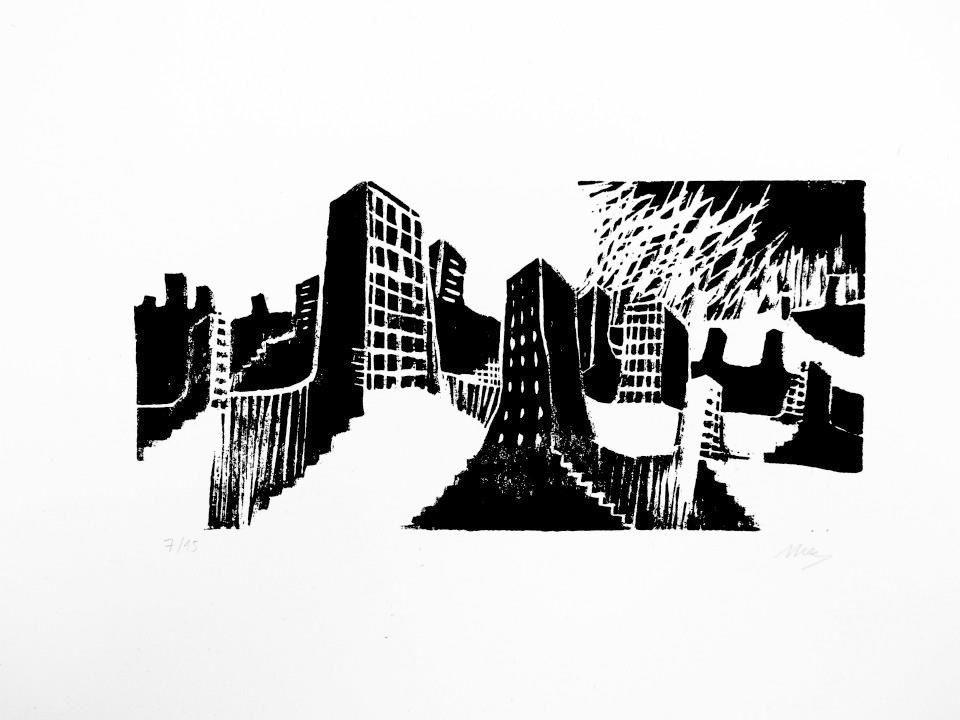 Ville déserte, gravure sur médium, 30x16cm, 2012,
