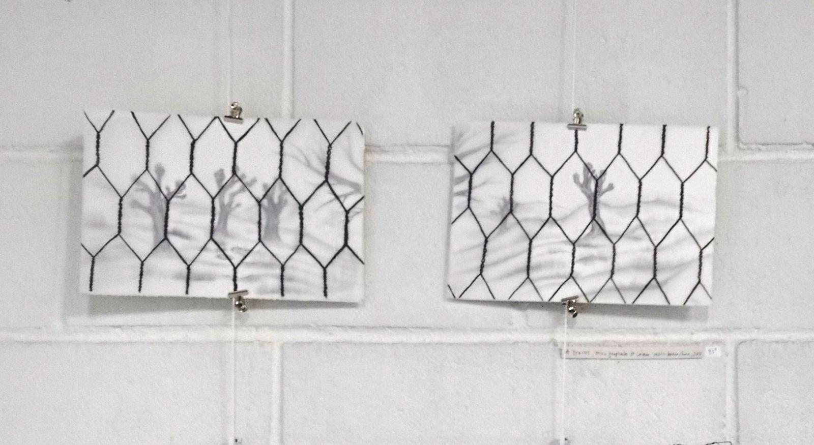 Enclosure, mine graphite sur papier et encre de chine sur calque, 20x75 cm, 2018