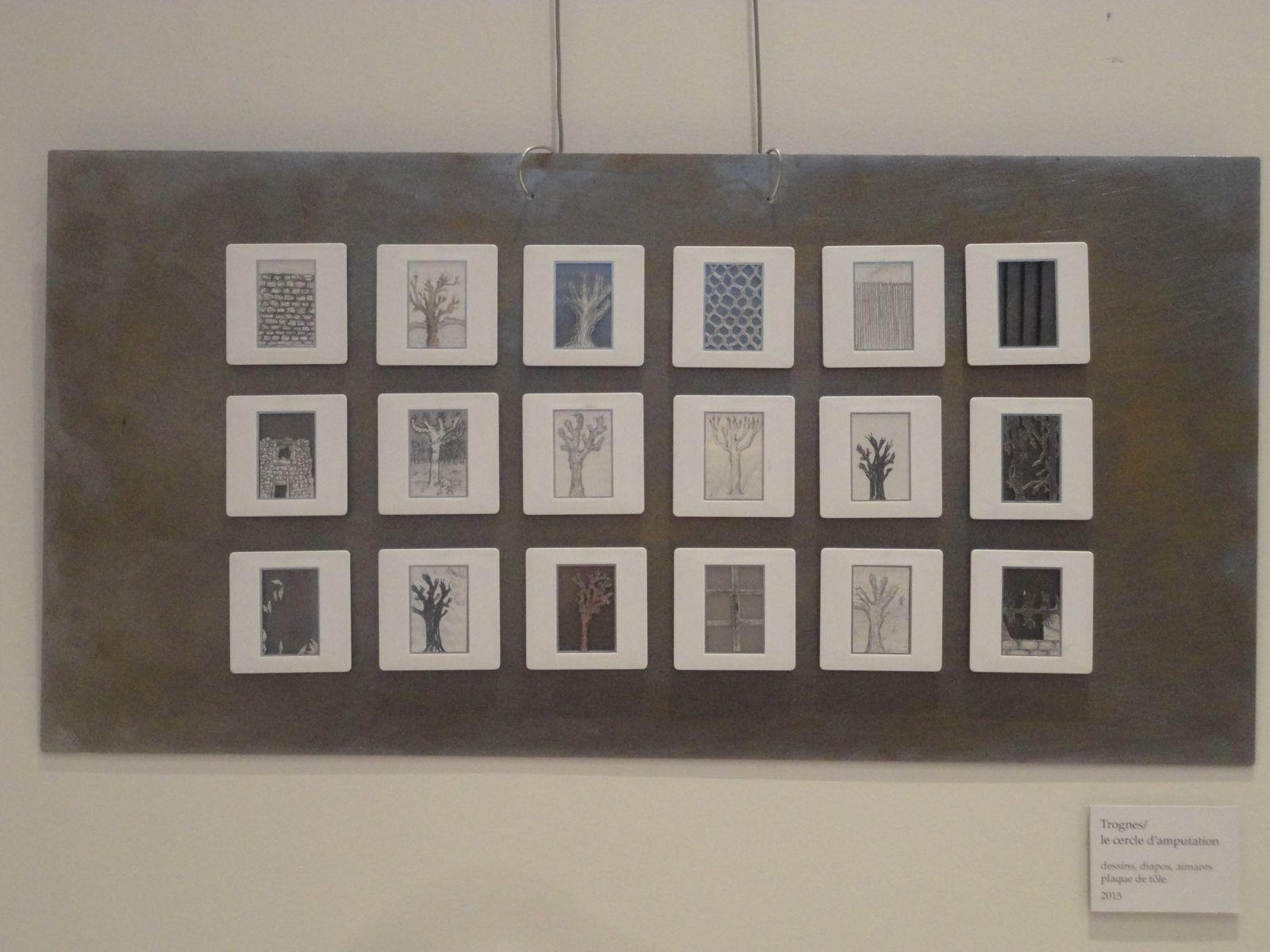 Cercle d'amputations, dessinset diapos aimantés à combinaisons multiples, 50x24 cm, 2015