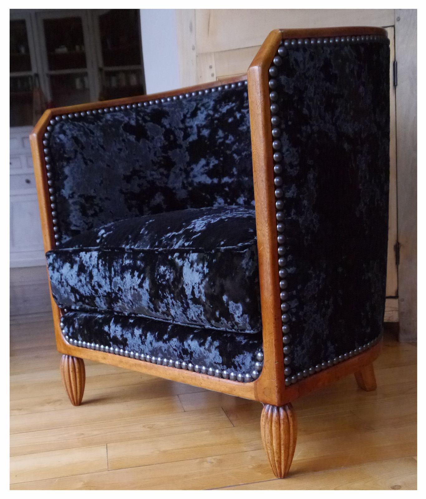 fauteuil tonneau art d co tissu clarke clarke cosy. Black Bedroom Furniture Sets. Home Design Ideas