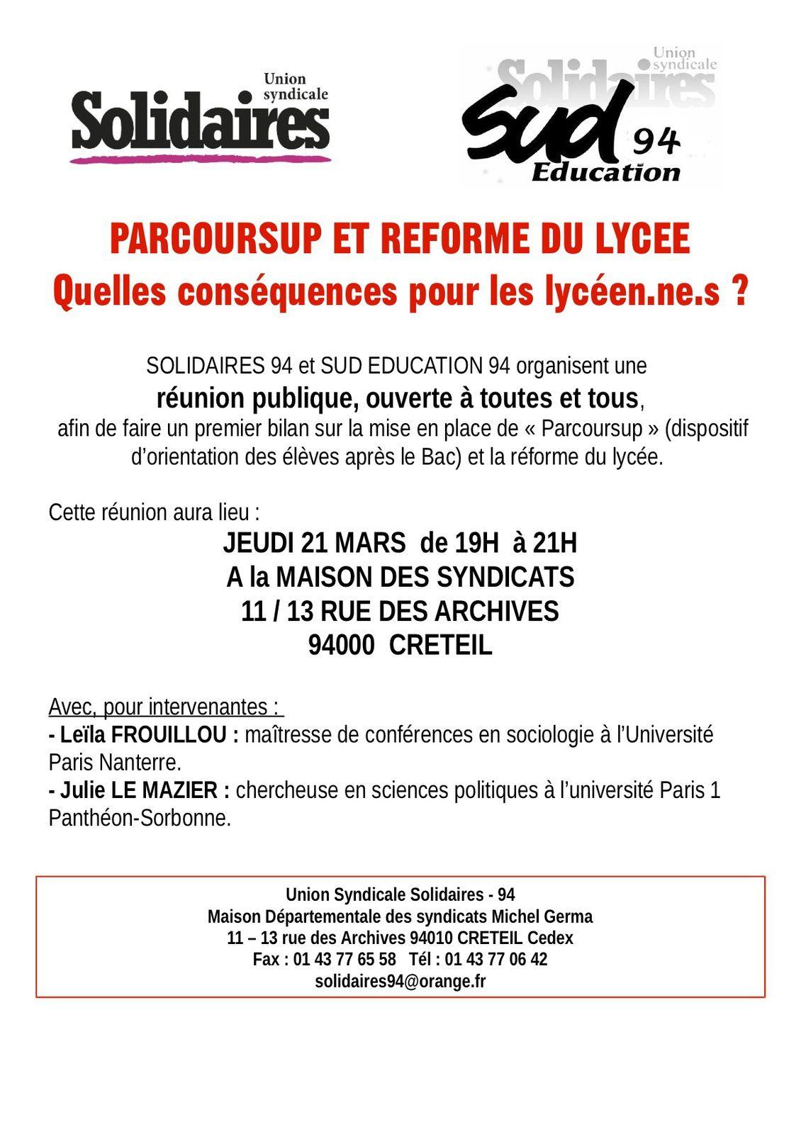 Education : Réunion publique parcoursup et réforme du lycée 21 mars 19H Créteil