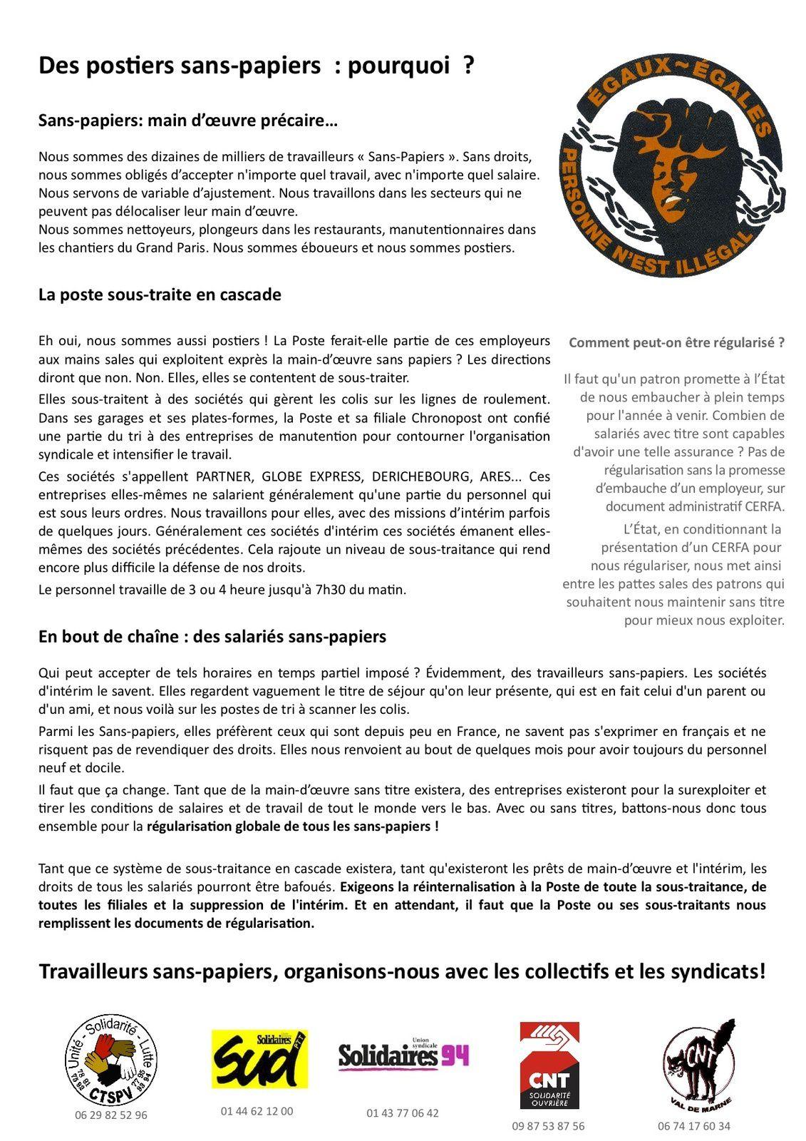 Sans-papiers : occupation de l'agence Chronopost d'Alfortville