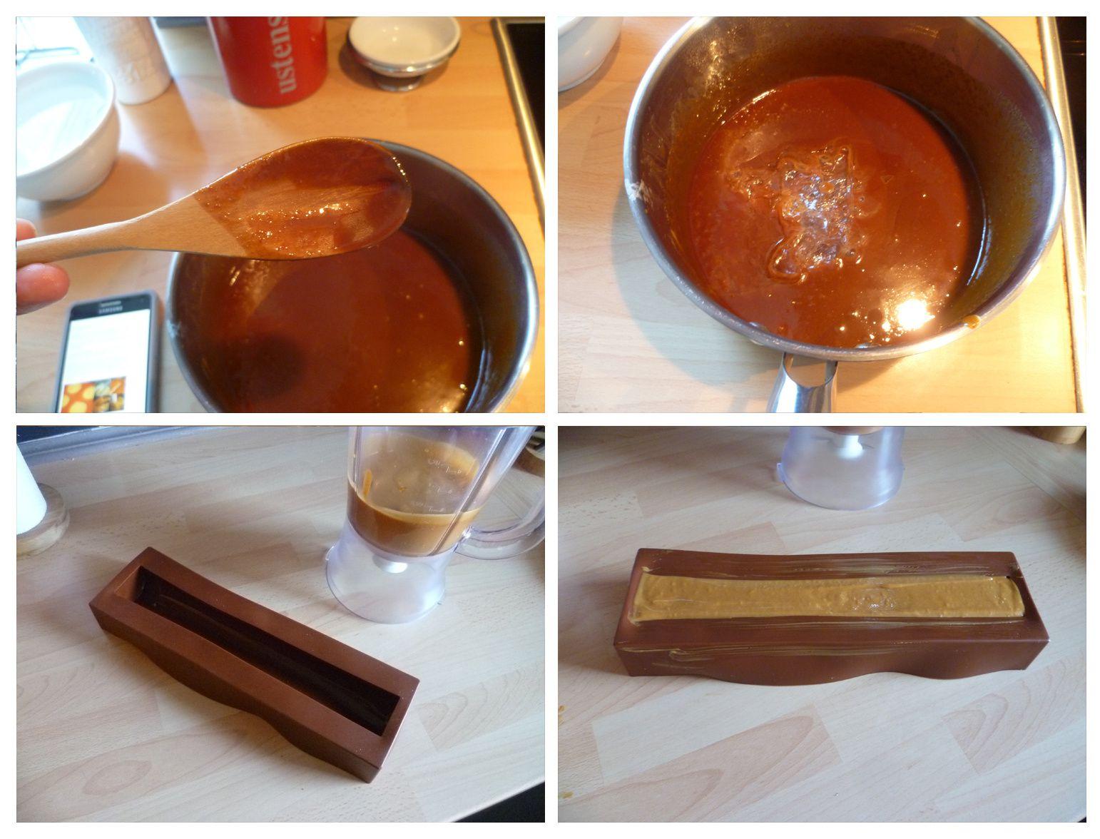 Bûche au chocolat et caramel salé