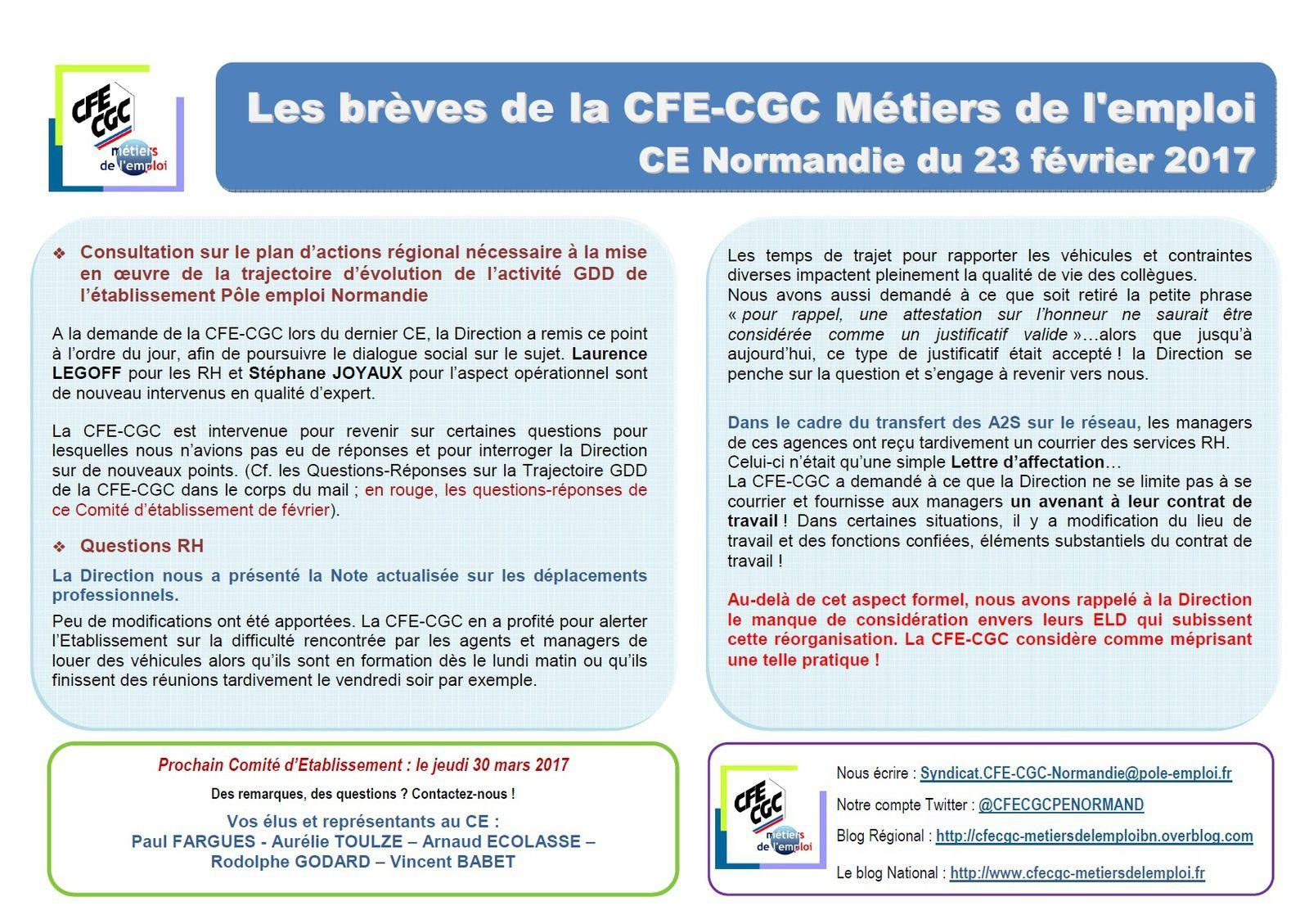 Brèves CE de Février 2017 et Communication CFE-CGC Métiers de l'emploi Normandie sur le projet Trajectoire GDD