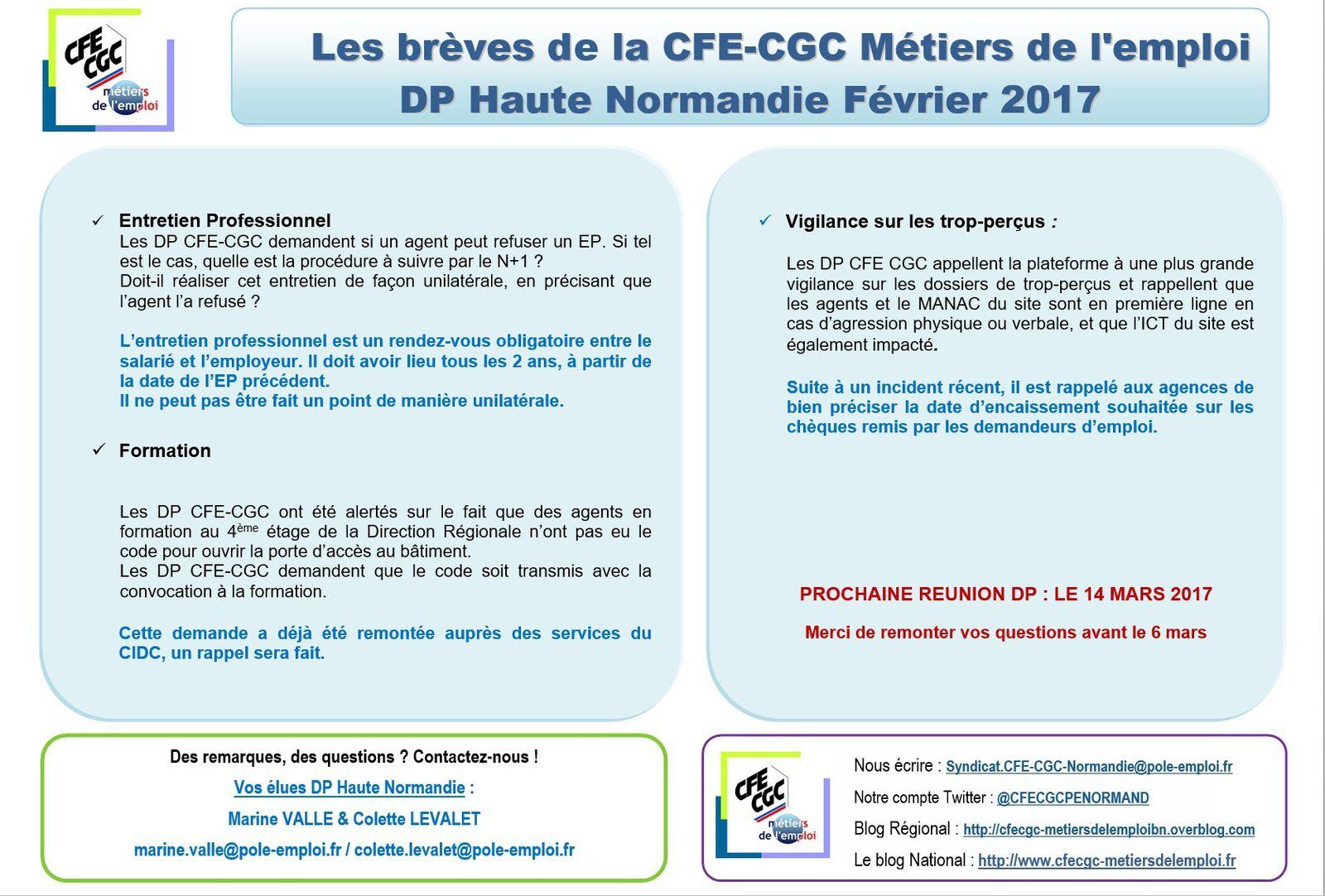 Les brèves de la CFE-CGC Métiers de l'emploi DP Haute Normandie Février 2017