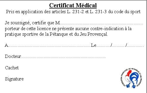certificat medical format sologne petanque prunelloise. Black Bedroom Furniture Sets. Home Design Ideas