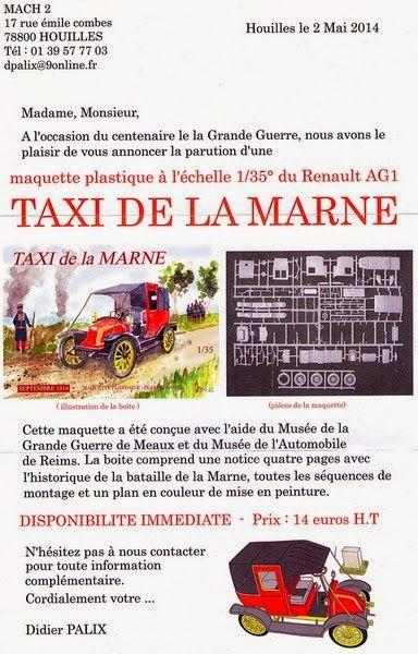 TAXI DE LA MARNE au 1 / 35 de chez MACH 2 - FIGURINES POILUS 1914 de chez NEMROD