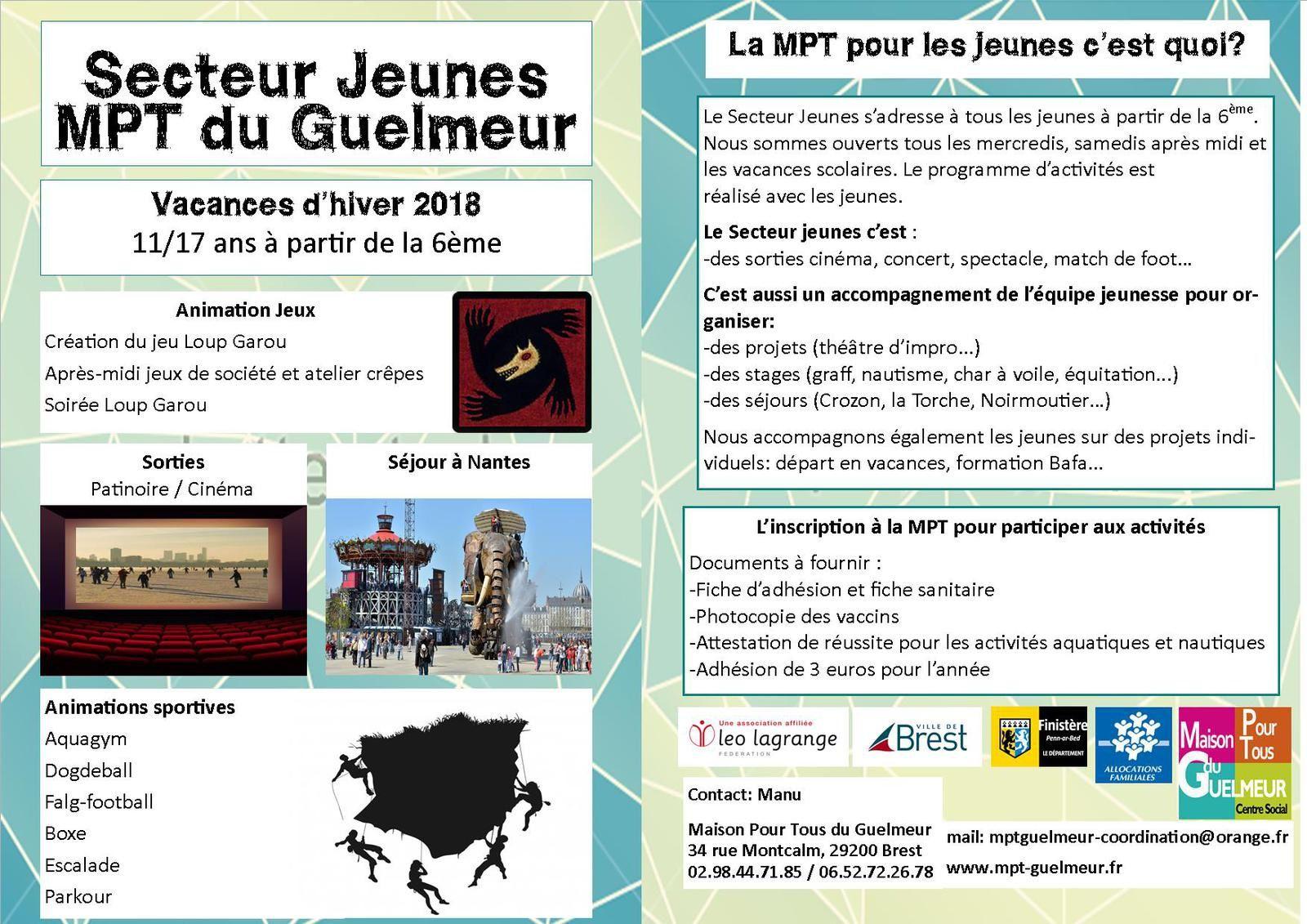 Programmes des vacances de février à la MPT