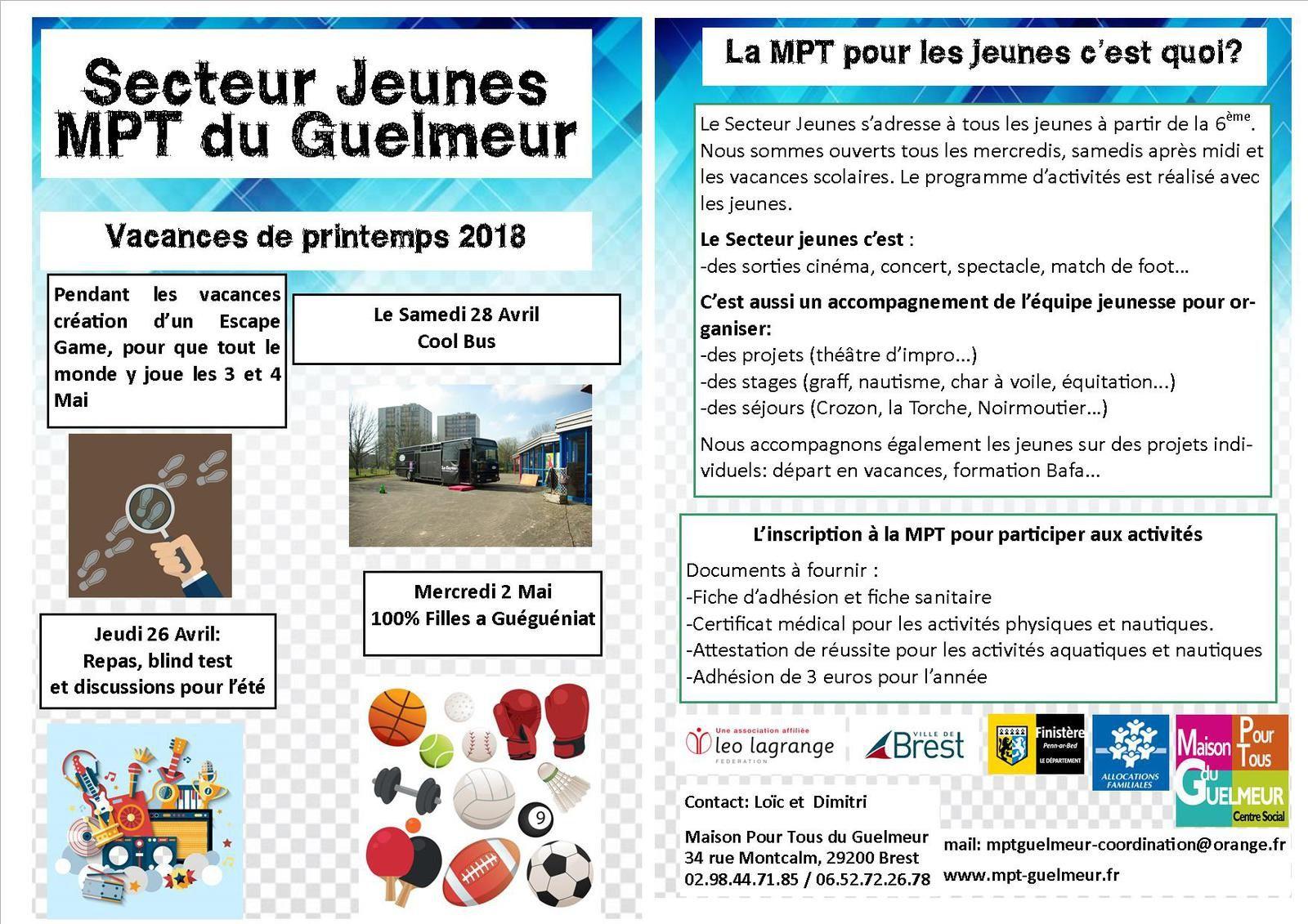 Programmes des vacances de printemps à la MPT
