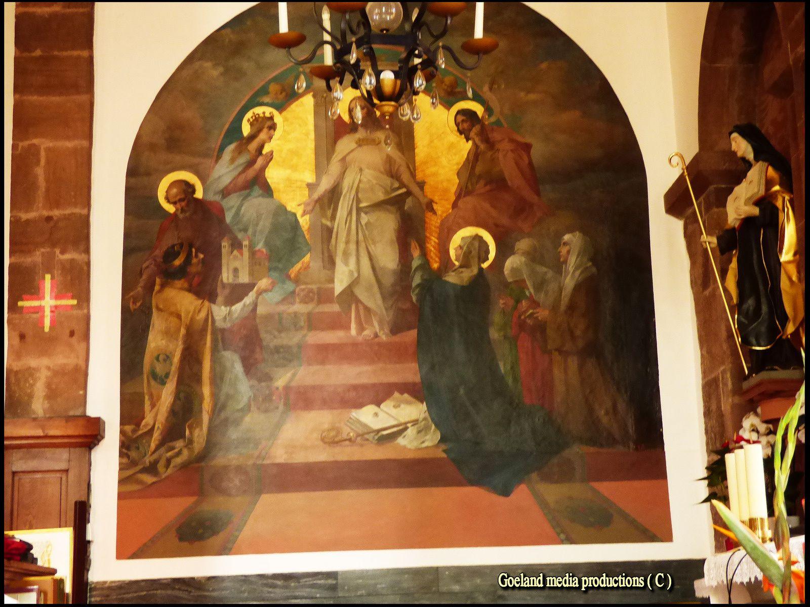 Fresque à intérieur de la basilique  ( Mont St Odile - ALSACE )