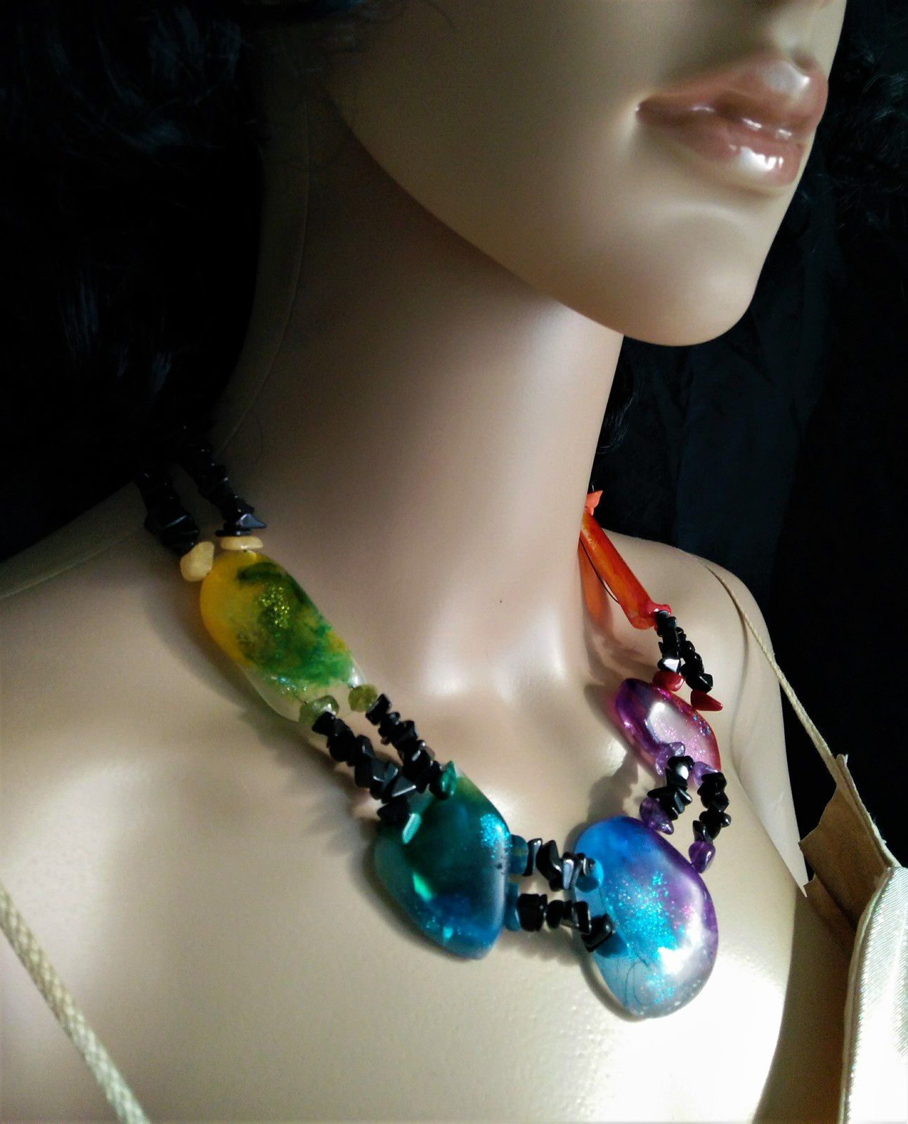 """Collier """" Galets rainbow """""""