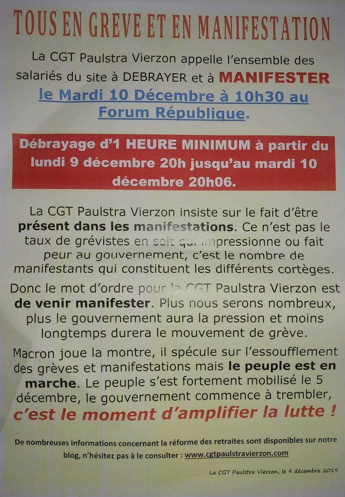 Mardi 10 Décembre : manifestation contre la réforme des retraites #onlâcherien #tousensemble