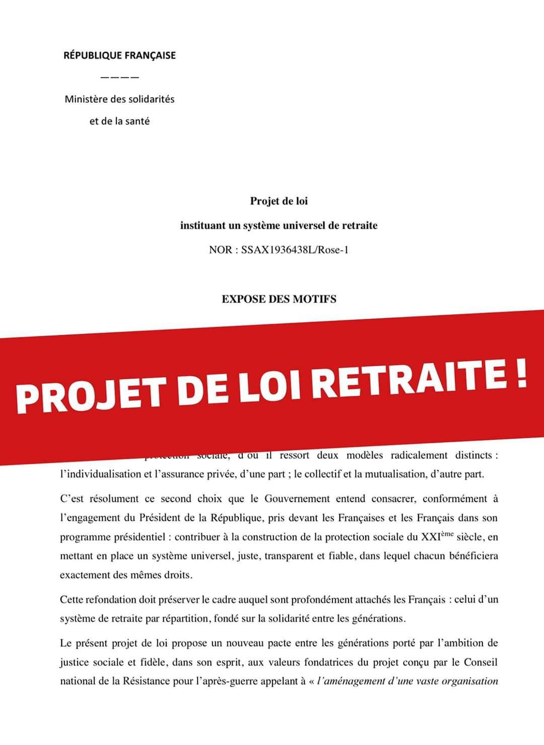 LE PROJET DE LOI RETRAITE !