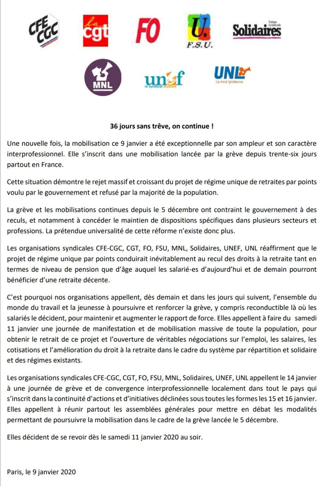 RETRAITE : on poursuit le mouvement #onlâcherien #tousensembledanslalutte