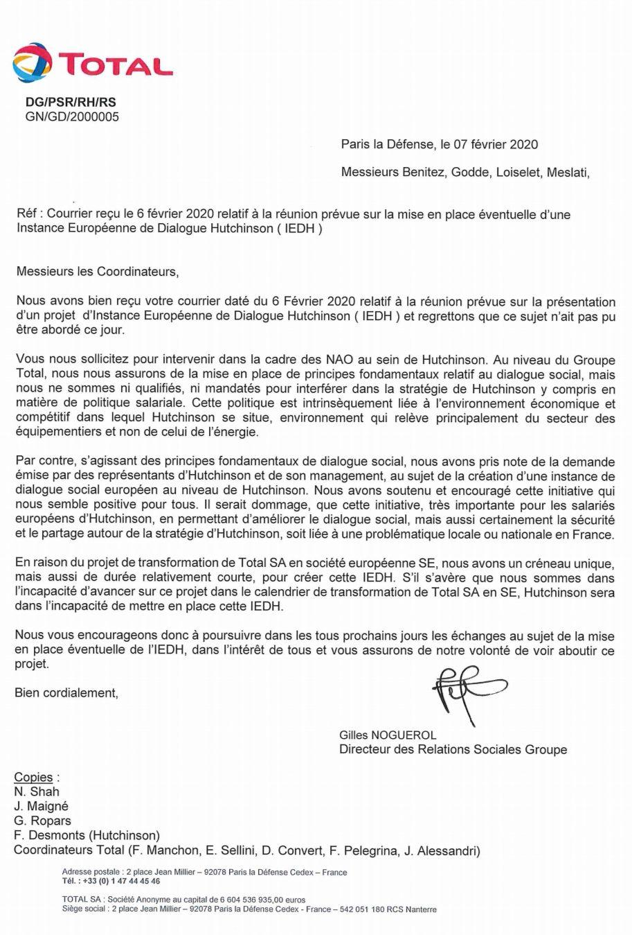 NAO 2020 (suite) : les 4 syndicats représentatifs du groupe Hutchinson se réunissent et tentent de dialoguer avec M. Maigné (Président du groupe Hutchinson).
