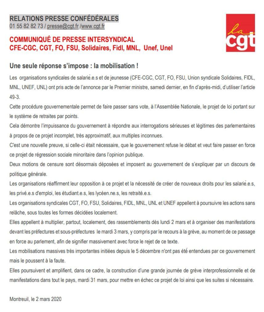 Suite au 49.3 brandit par E. Philippe : Communiqué de presse intersyndical (CFE-CGC, CGT, FO, FSU, Solidaires, Fidl, MNL, Unef, Unel) et tract de la CGT Métallurgie.