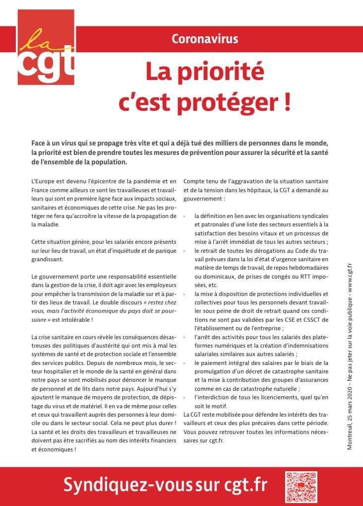 COVID-19 : LA PRIORITÉ, C'EST DE PROTÉGER.