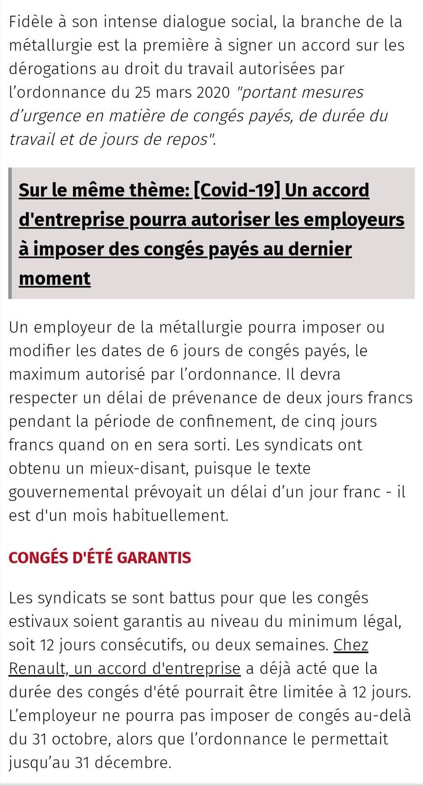 (Covid-19) Les détails de l'accord sur les congés payés imposés dans la métallurgie.
