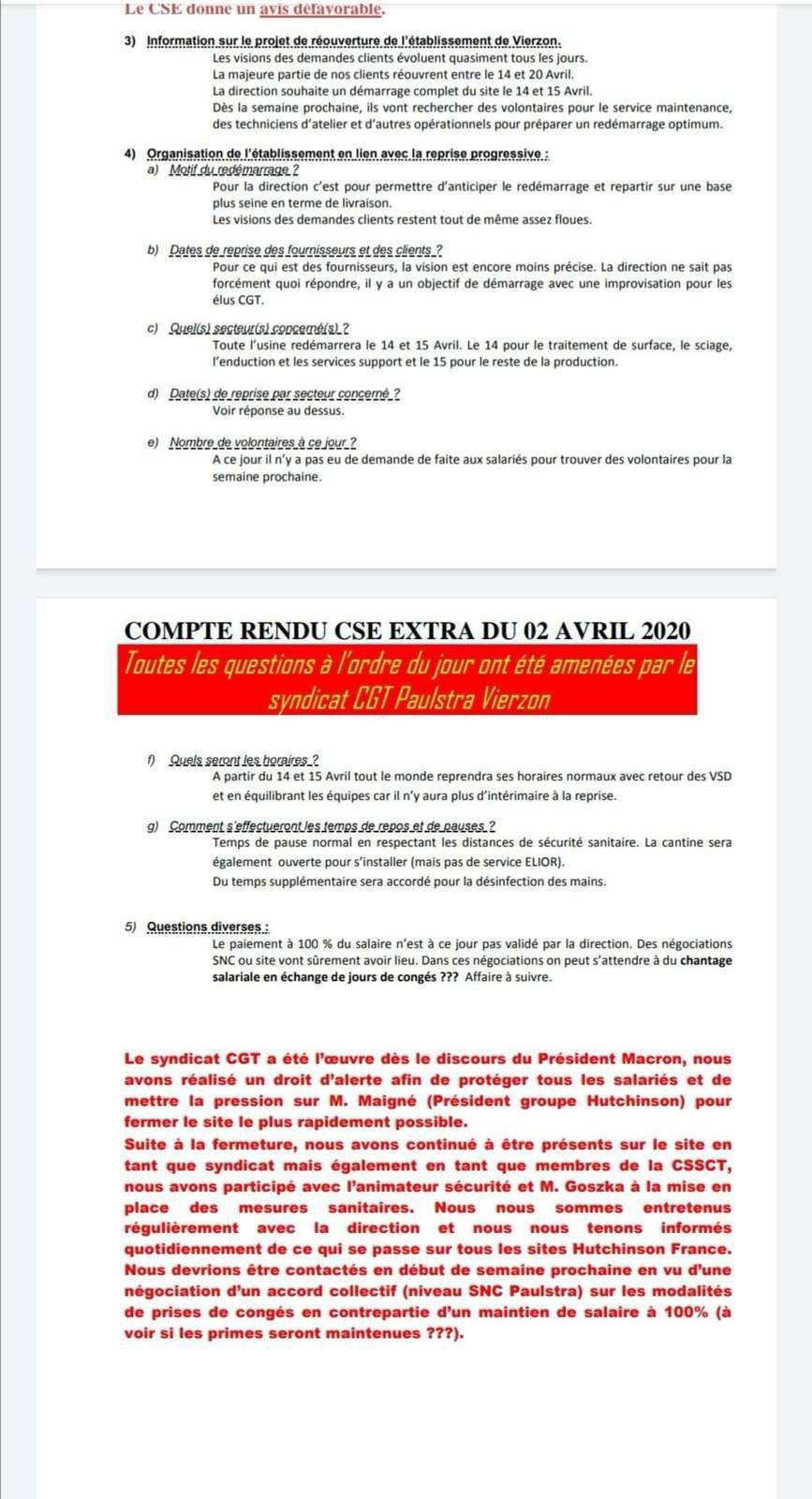 Covid-19 / redémarrage de l'usine Pausltra Vierzon : la direction passe outre l'avis défavorable du CSE, de la CSSCT et de la CGT.