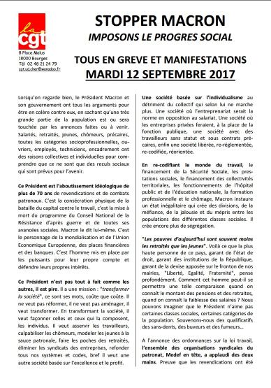 STOPPER MACRON, IMPOSONS LE PROGRES SOCIAL. TOUS EN GREVE ET MANIFESTATIONS LE MARDI 12 SEPTEMBRE 2017.