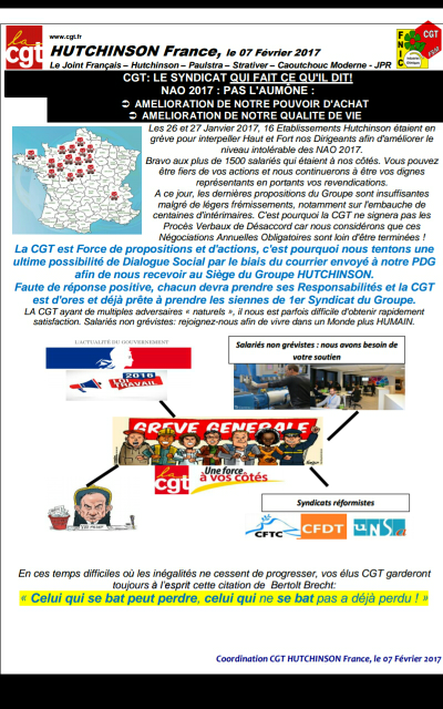 NAO 2017 : tracts CGT