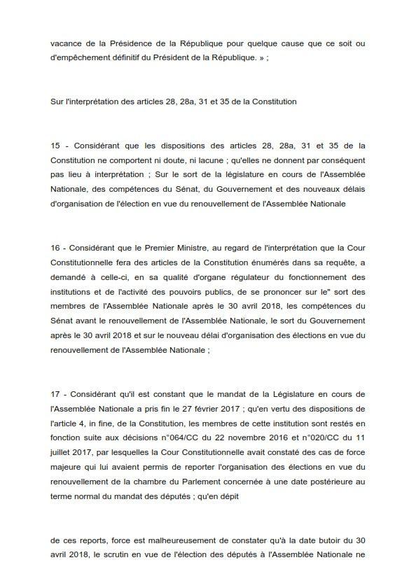 DECISION N°022 /CC DU 30 AVRIL 2018 RELATIVE A LA REQUÊTE PRESENTEE PAR LE PREMIER MINISTRE AUX FINS D'INTERPRETATION DES ARTICLES 4, 28, 28a, 31, 34, 35 ET 36 DE LA CONSTITUTION