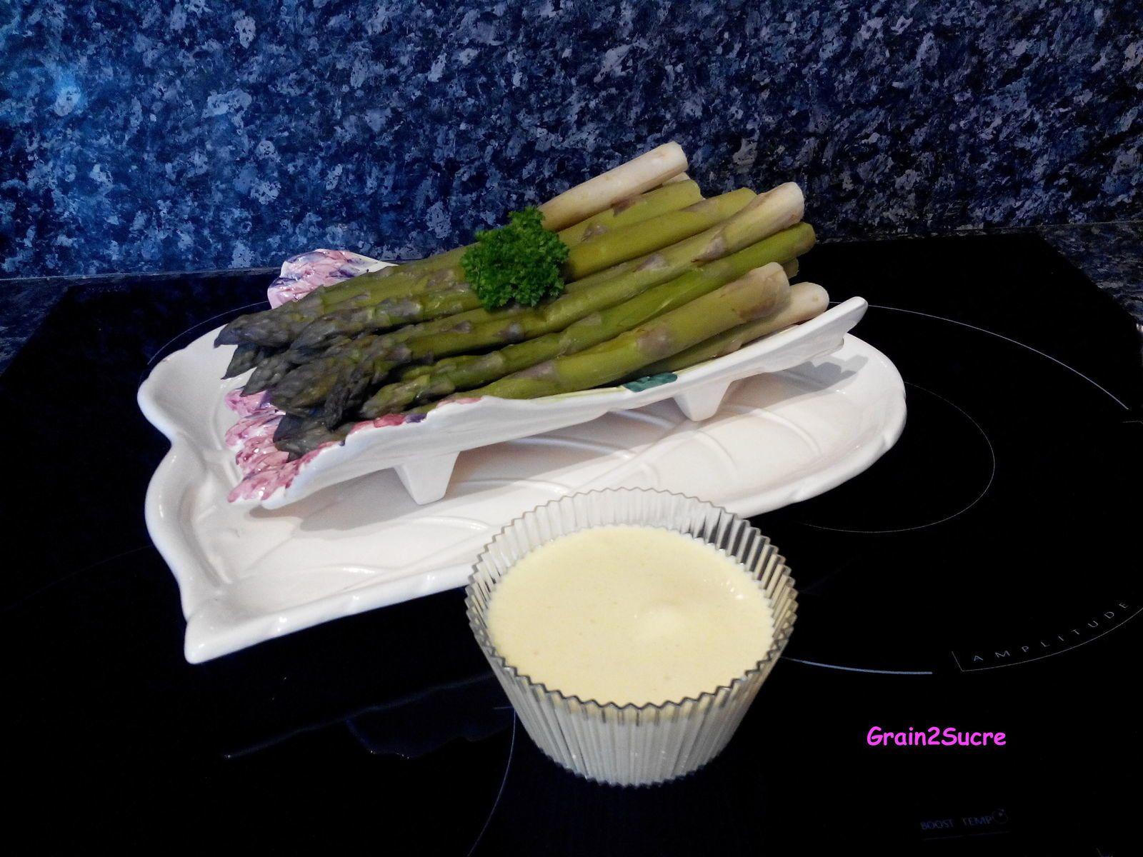 Grain2Sucre. Recette Asperges sauce mousseline, asperges, œuf, huile, moutarde, sel poivre, citron