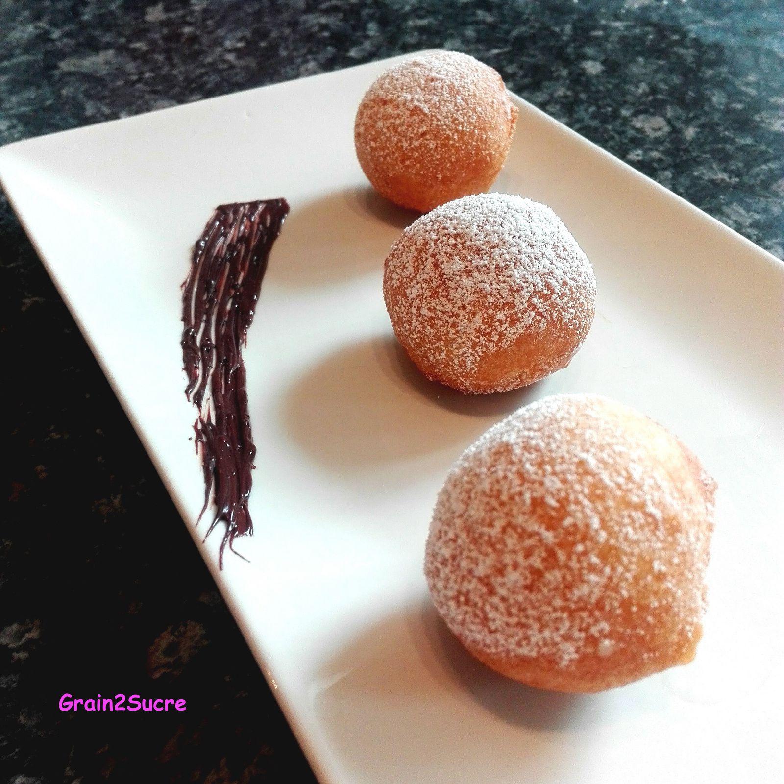 Grain2Sucre. Recette Fritelle Al Limone : farine, œufs, sucre, zeste de citron...