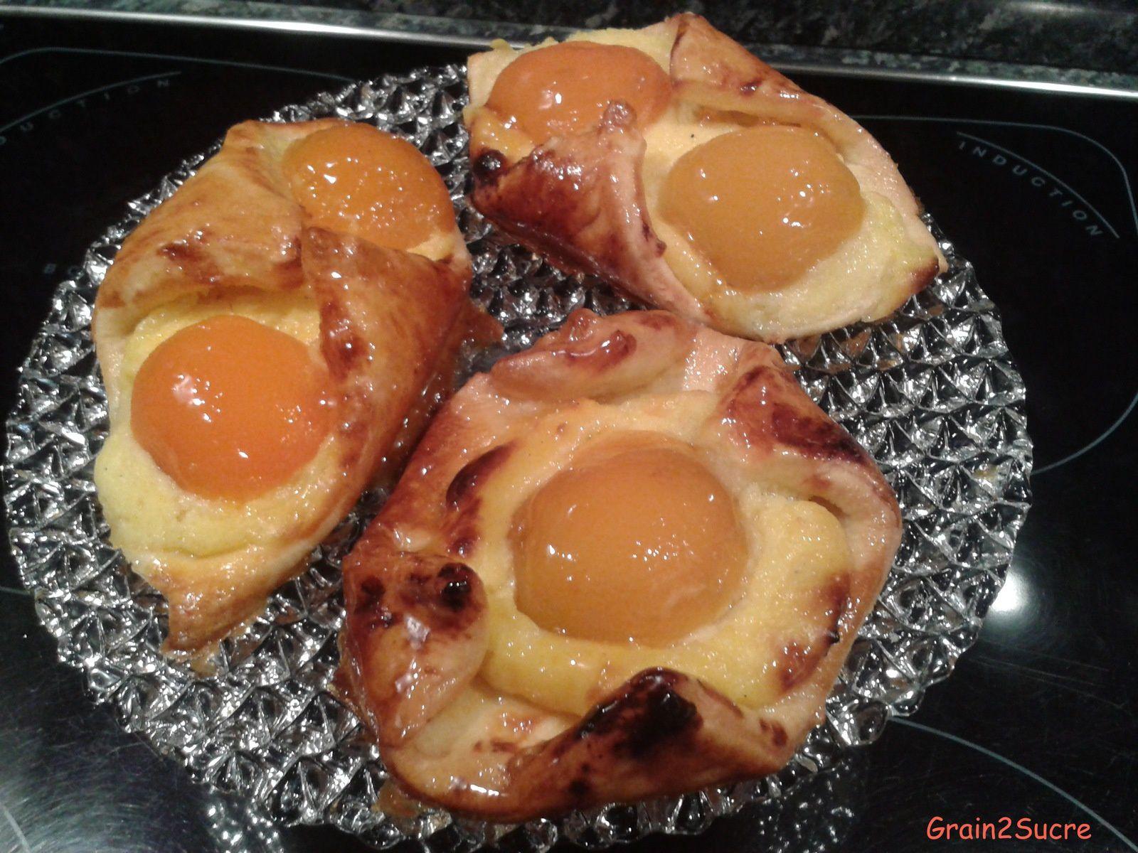 Grain2Sucre; Recette Couques p^ta danoise, crème pâtissière, abricots