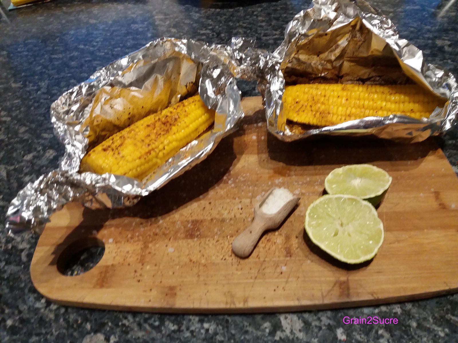 Grain 2Sucre. Epis de maïs au beurre, citron vert et piment d'Espelette, maïs, beurre, sel, piment d'espelette, citron vert