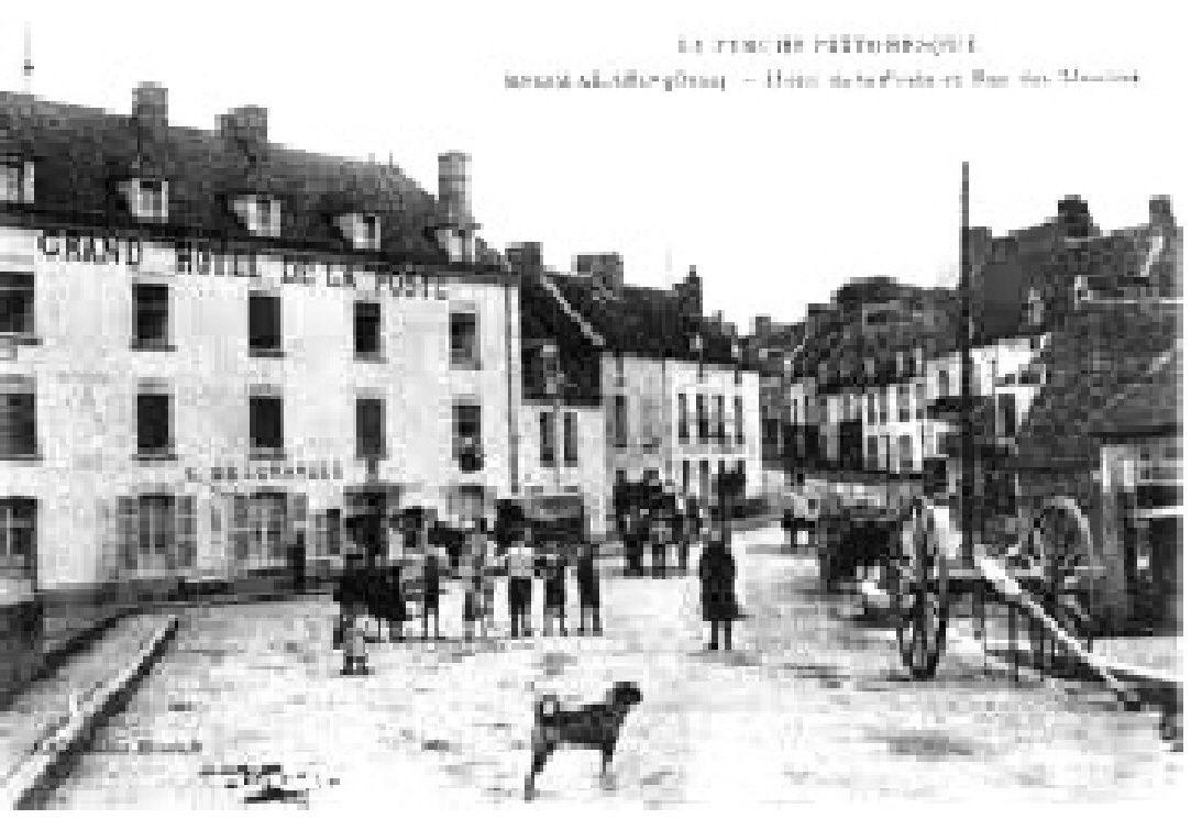 Hôtel de la Poste et pont de Rémalard vers 1750