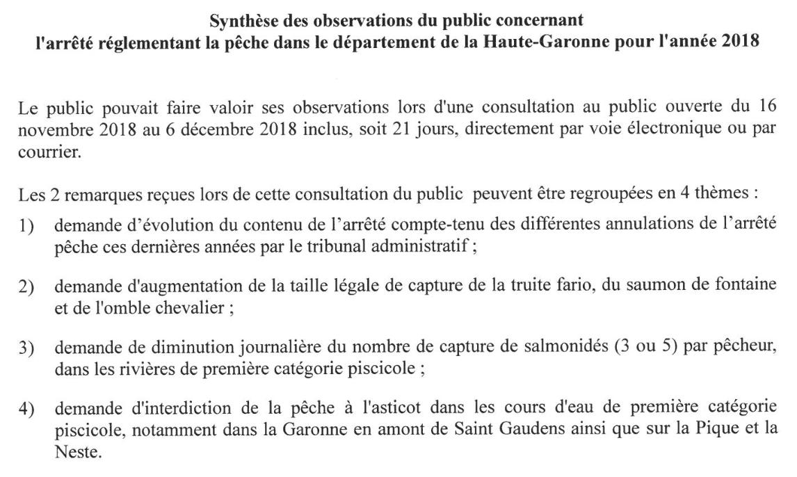 Les remarques reçues par la préfecture