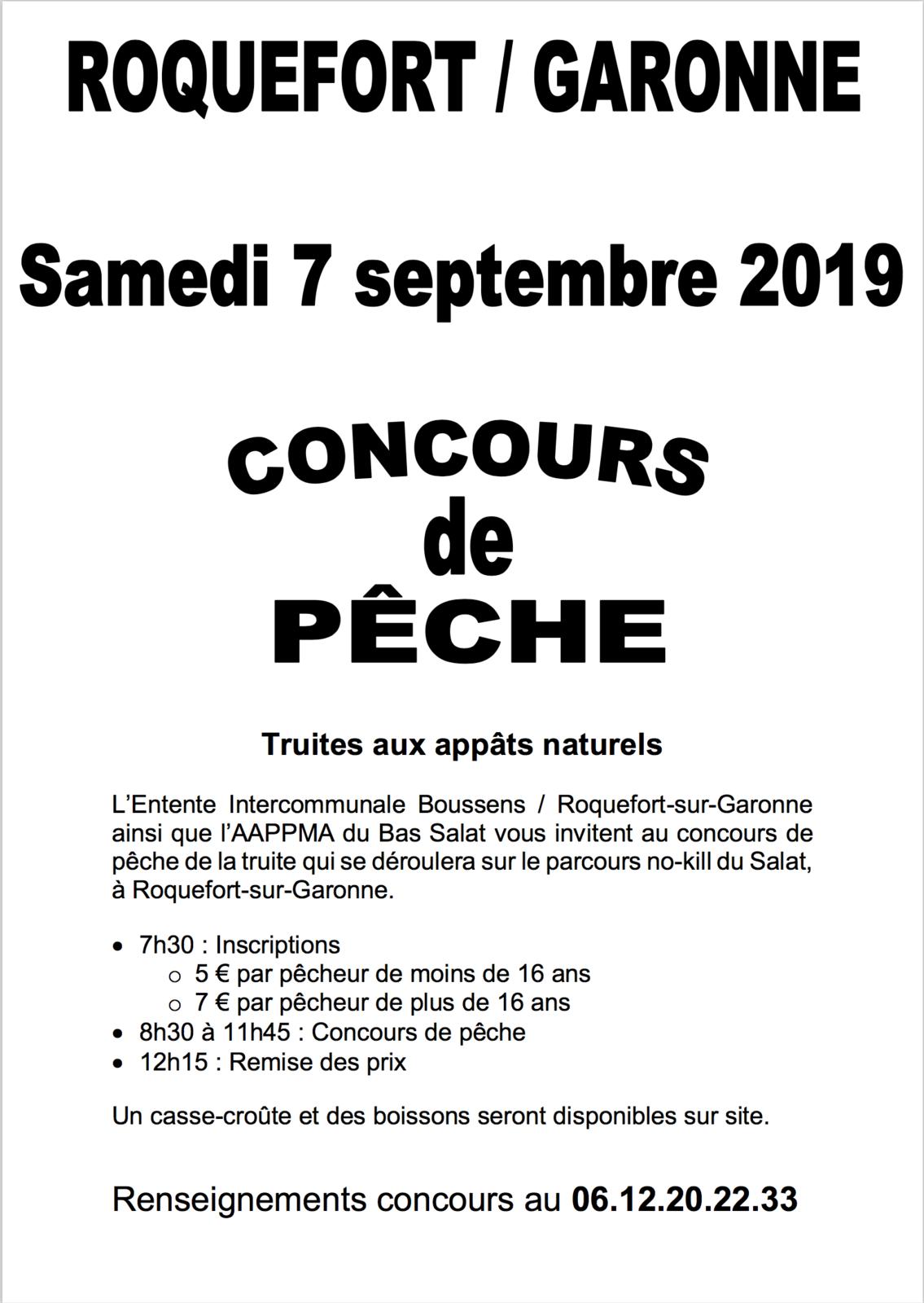 UN CONCOURS DE PÊCHE EST ORGANISÉ À ROQUEFORT-SUR-GARONNE, LE SAMEDI 7 SEPTEMBRE 2019