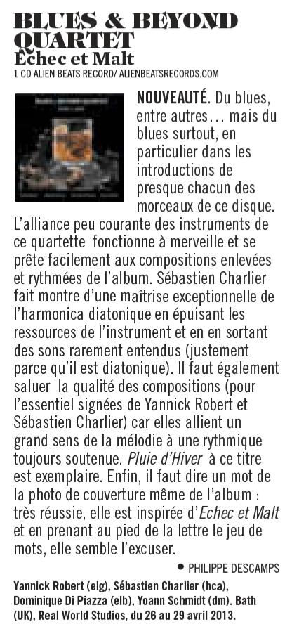 Critique Presse - CD Echec et Malt