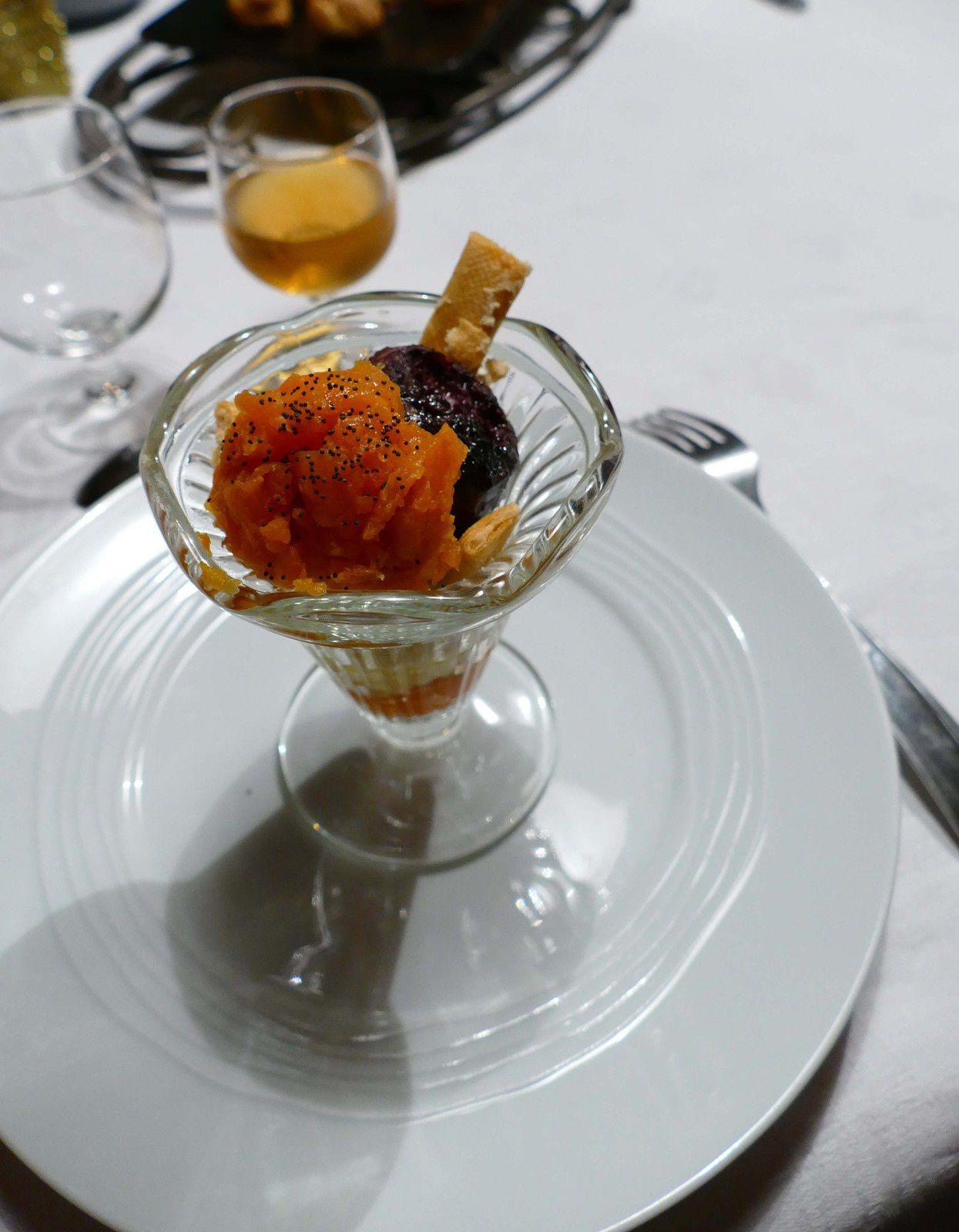 photo R.Levaché coupe 4 boules-purée carotte, citrouille, pomme de terre-boudin noir
