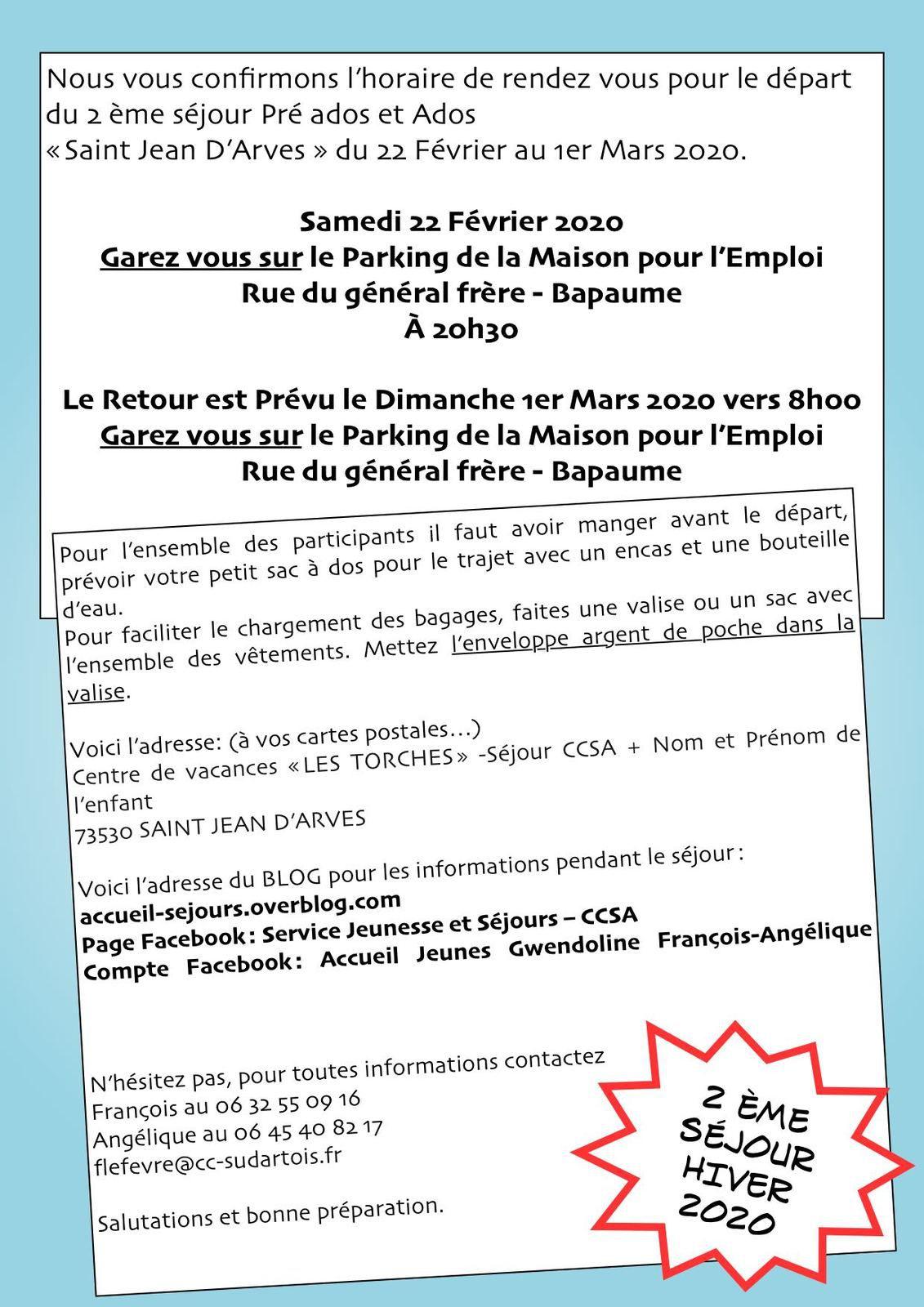 Deuxième Séjour Hiver Préados et Ados - Rappel des infos de départ...