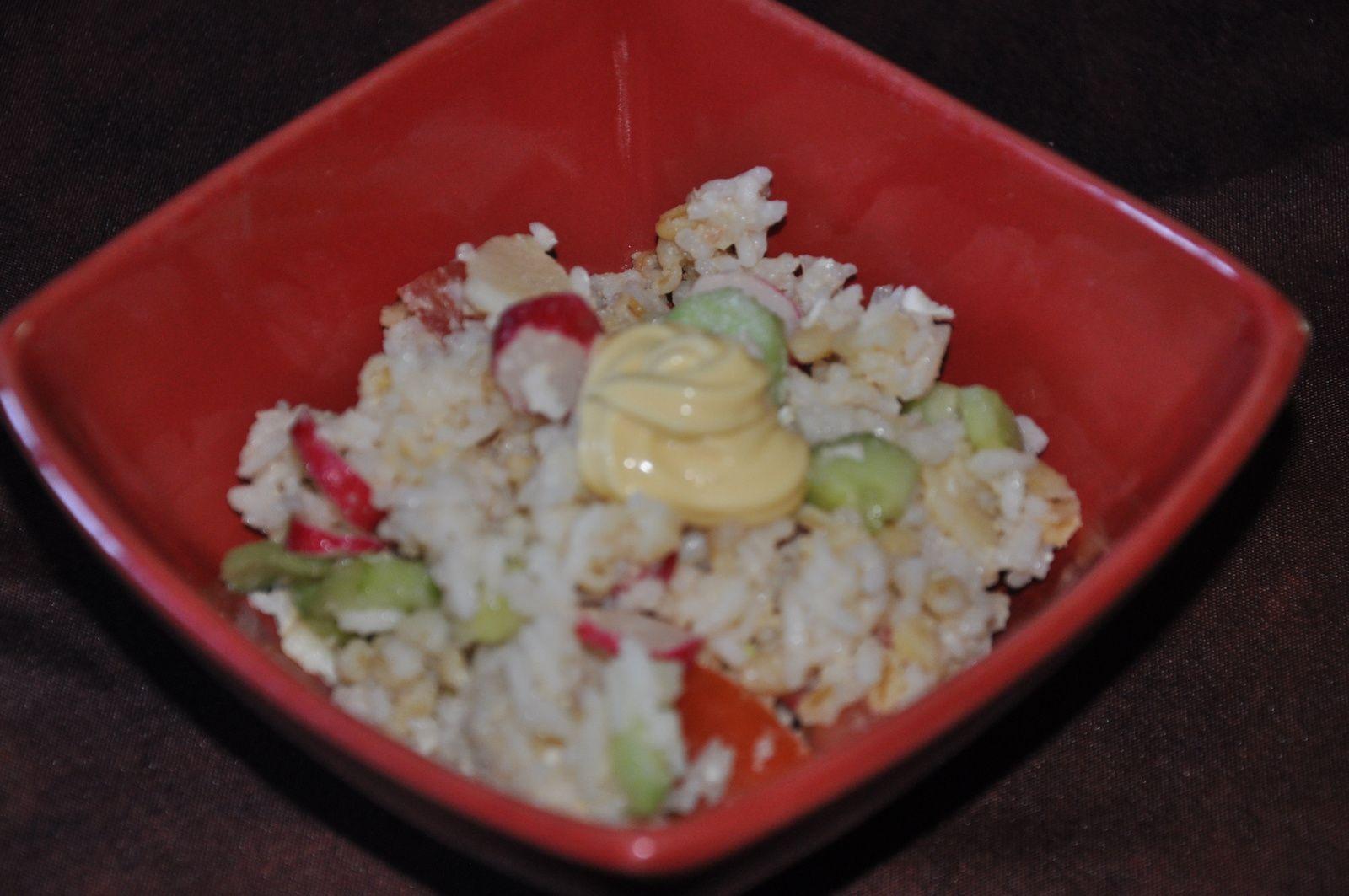 Salade  riz- concombre- tomate-thon