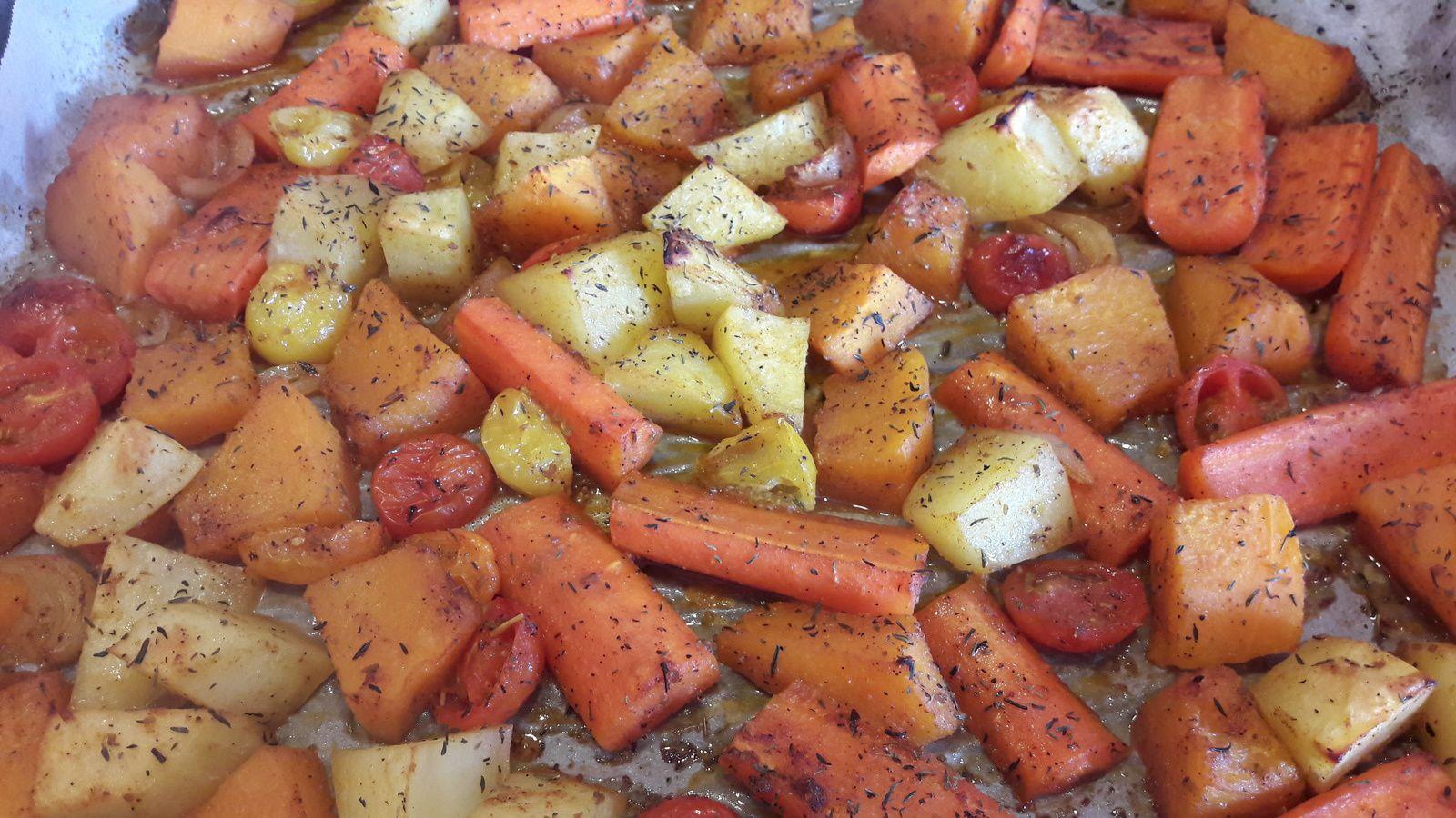 Légumes rôtis au miel et épices