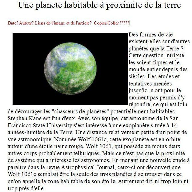 Planète habitable?