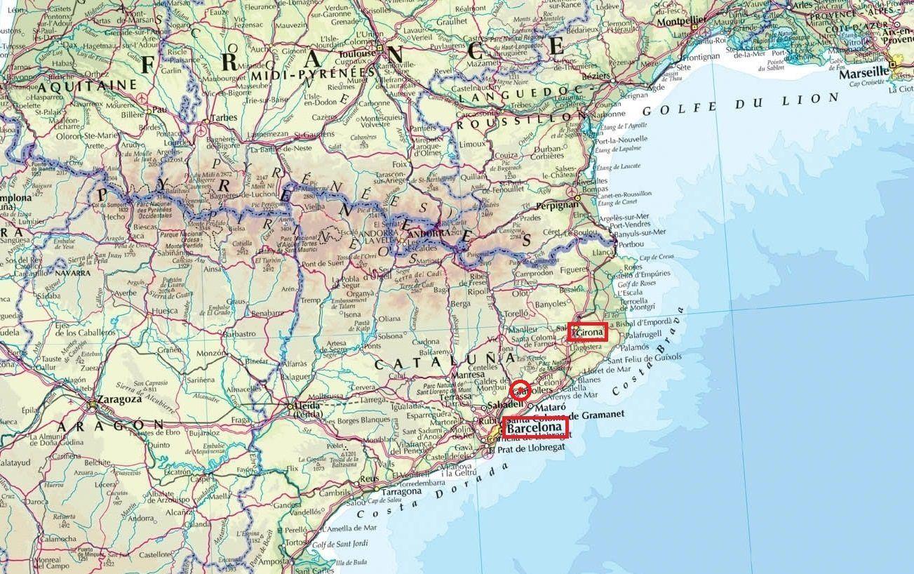 Ville de Gérone et le lieu de la bataille (approximatif) défini par un point rouge.Pour les noms des régiments Espagnol voir mon article précédemment.