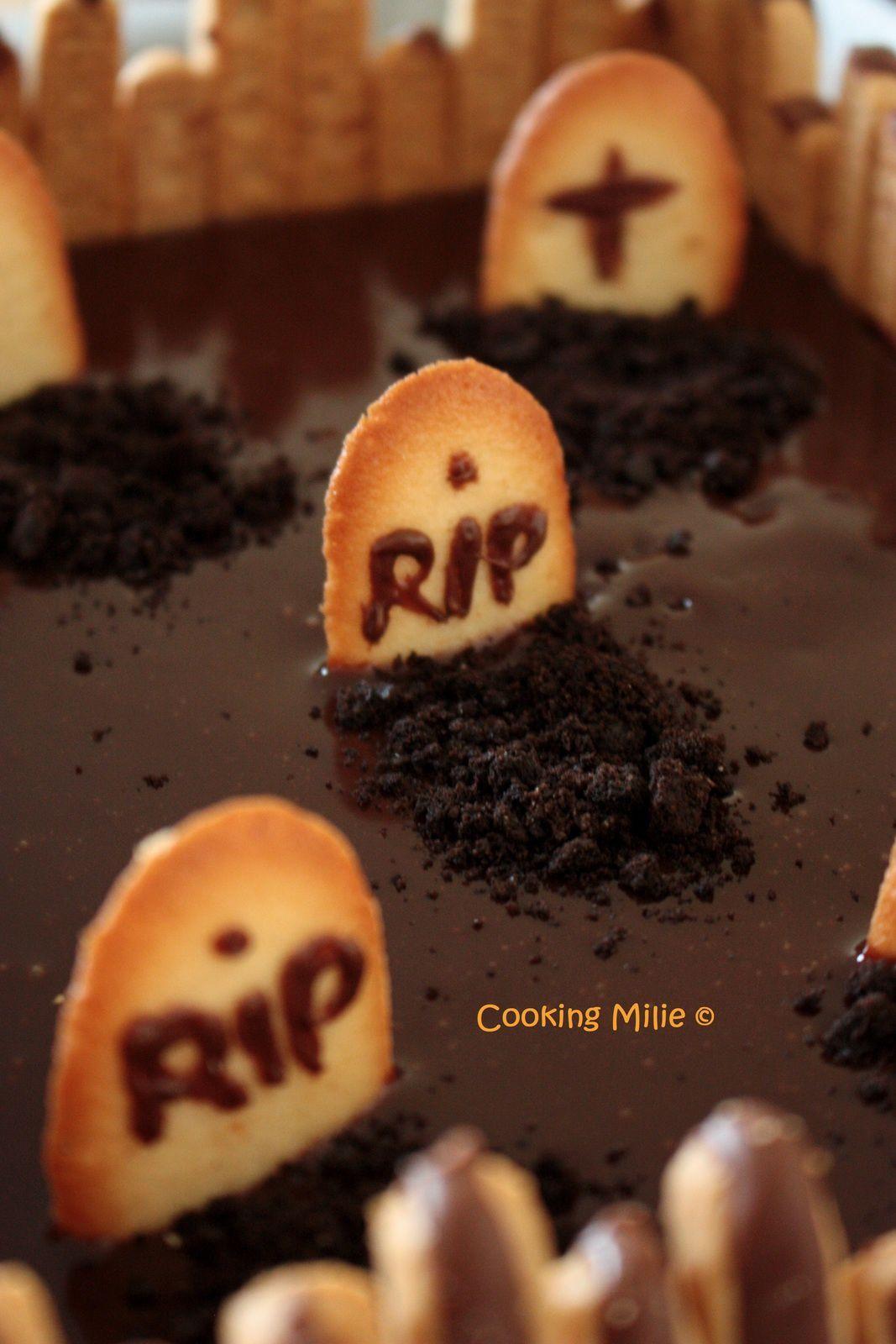 Halloween #24 - Gâteau cimetière au chocolat