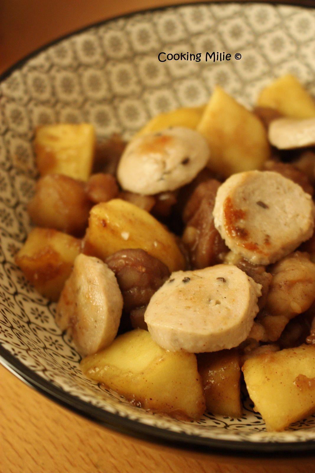 Poêlée de boudin blanc aux pommes et marrons au miel et aux épices