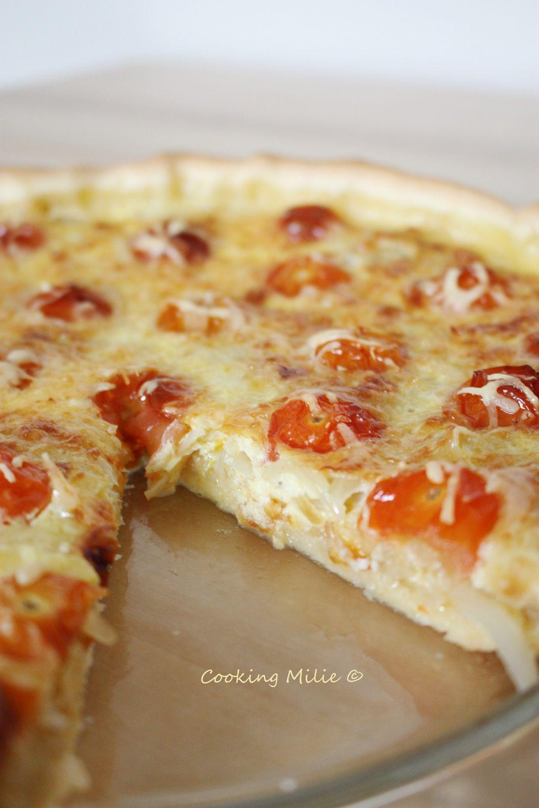 Tarte aux oignons caramélisés et tomates cerises
