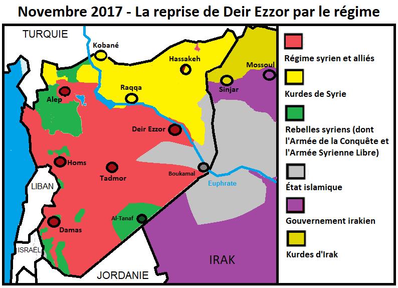 Cette carte présente la situation de la Syrie à la chute de Deir Ezzor, il y a seulement six jours. Alors que le Califat s'est réduit comme peau de chagrin (à peine 66 000 km² répartis entre la Syrie et l'Irak, et ne comptant pour l'essentiel que des zones rurales ou désertiques), la percée du régime depuis Tadmor et en direction de Deir Ezzor est manifeste. En outre, on voit bien que le long de l'Euphrate, une « course à la frontière » a lieu. Seuls quelques fronts n'ont, depuis décembre 2016, pratiquement pas évolué, notamment autour de la province d'Idlib et dans le « couloir de Jarablus », où la Turquie a obtenu pour ses alliés des accords établissant des zones dites de désescalade. Dans la région de Damas, notamment dans la Ghouta orientale, l'acharnement des rebelles n'a d'égale que la brutalité des sièges opérés par l'armée syrienne sur les quartiers irréductibles – sièges qui réduisent bien souvent les populations civiles à un état tragique de désolation, des cas de famine ayant même été observés dans certaines zones où l'aide humanitaire ne peut accéder.