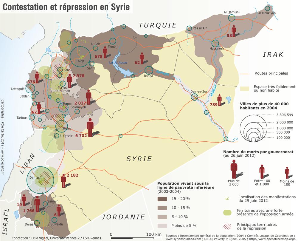 Produite en 2012 par Leïla Vignal, maîtresse de conférences en Géographie à l'Université Rennes-2, sur la base, notamment, du recensement général de la population de 2004, des indicateurs de pauvreté produits en 2005 par le Programme des Nations Unies pour le Développement (PNUD) et par la localisation de manifestations, de la répression et de la rébellion armée en juin 2012, cette carte croise le niveau de vie et la contestation, avant l'irruption d'Al-Qaïda et de l'État islamique sur l'échiquier syrien– donc, tant que le conflit est resté syro-syrien. Les régions les plus pauvres, comme autour de Deraa où est née la révolution, dans les provinces d'Alep et de Hama, et dans la vallée de l'Euphrate, ont aussi été celles où les manifestations ont été les plus massives.
