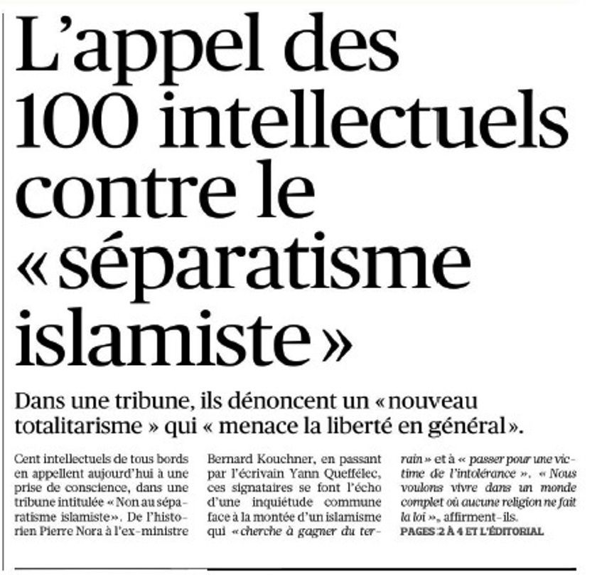 100 « intellectuels » contre l'islamisme