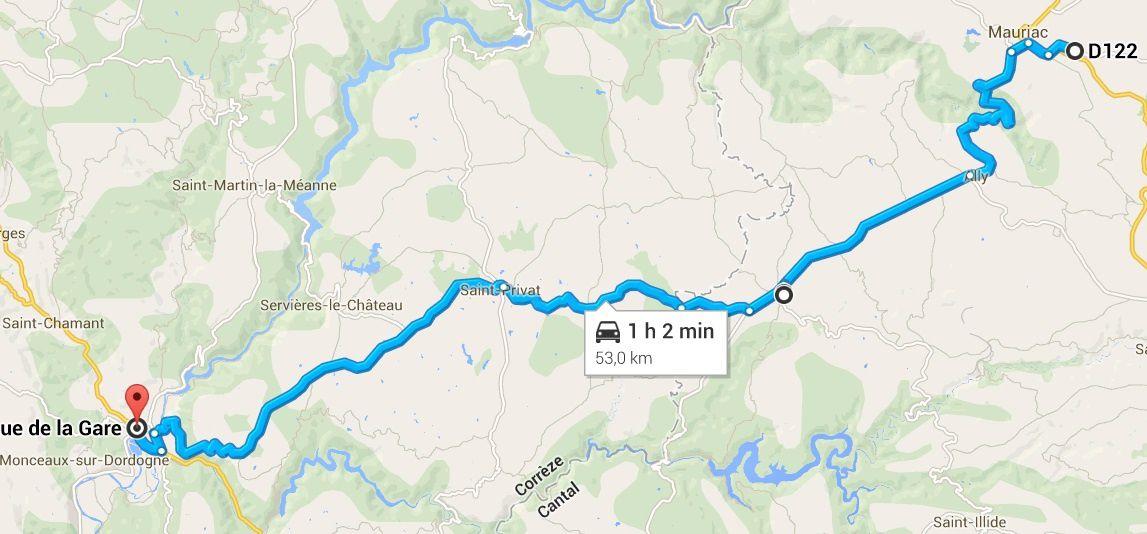 Itinéraire Le Vigean-Argentat