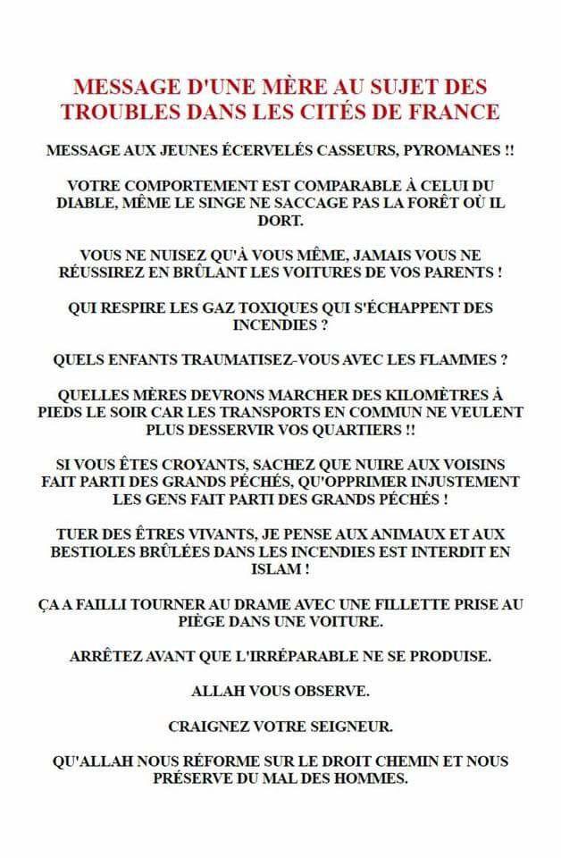 Méssage d'une mère au sujet des troubles dans les cité de France