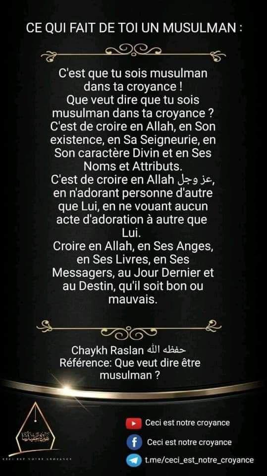 Ce qui fait de toi un musulmans  :